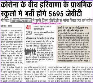 Haryana SSC 5695 JBT Teacher Recruitment 2020