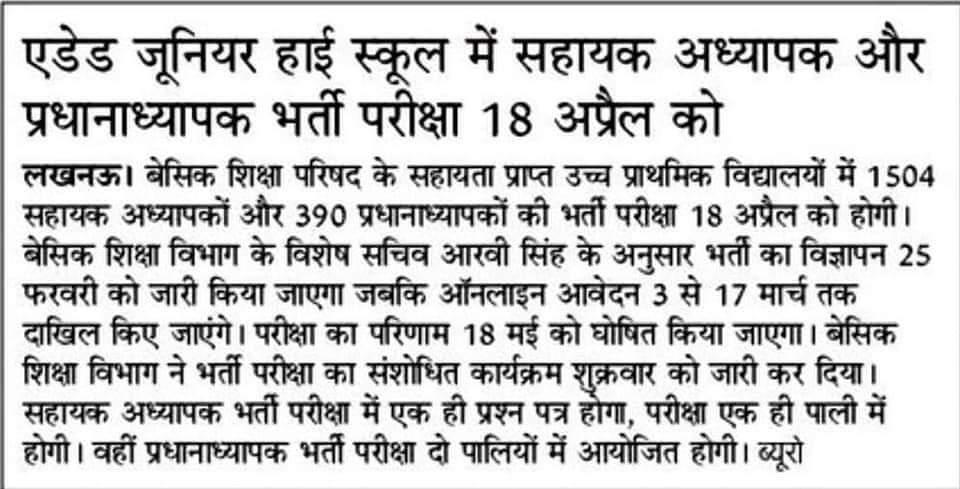 UP 1894 Junior Teacher Shikshak Bharti 2021